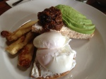 Slim Jim - Poached Eggs with Avocado, Haloumi & Relish