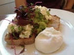 vocado Mash with Feta and Poached Eggs
