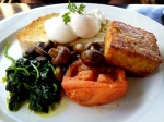 Cat's Meow - poached eggs, potato and corn hash, roasted tomato, rosemary mushrooms, spinach on organic sourdough